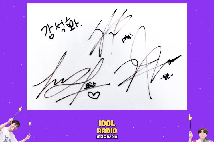 OUI Boys Kim Yohan, Kim Donghan, Jang Dae Hyeon and Kang Seok Hwa signature with Idol Radio on Episode 630