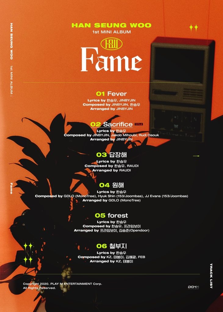 Han Seung Woo's first solo album track list image