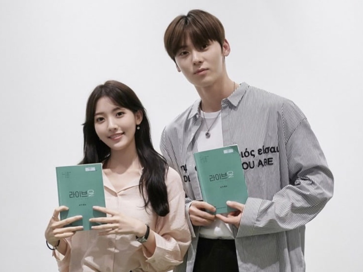 NU'EST's Hwang Min Hyun, Jung Da Bin for JTBC's Live On drama script reading.