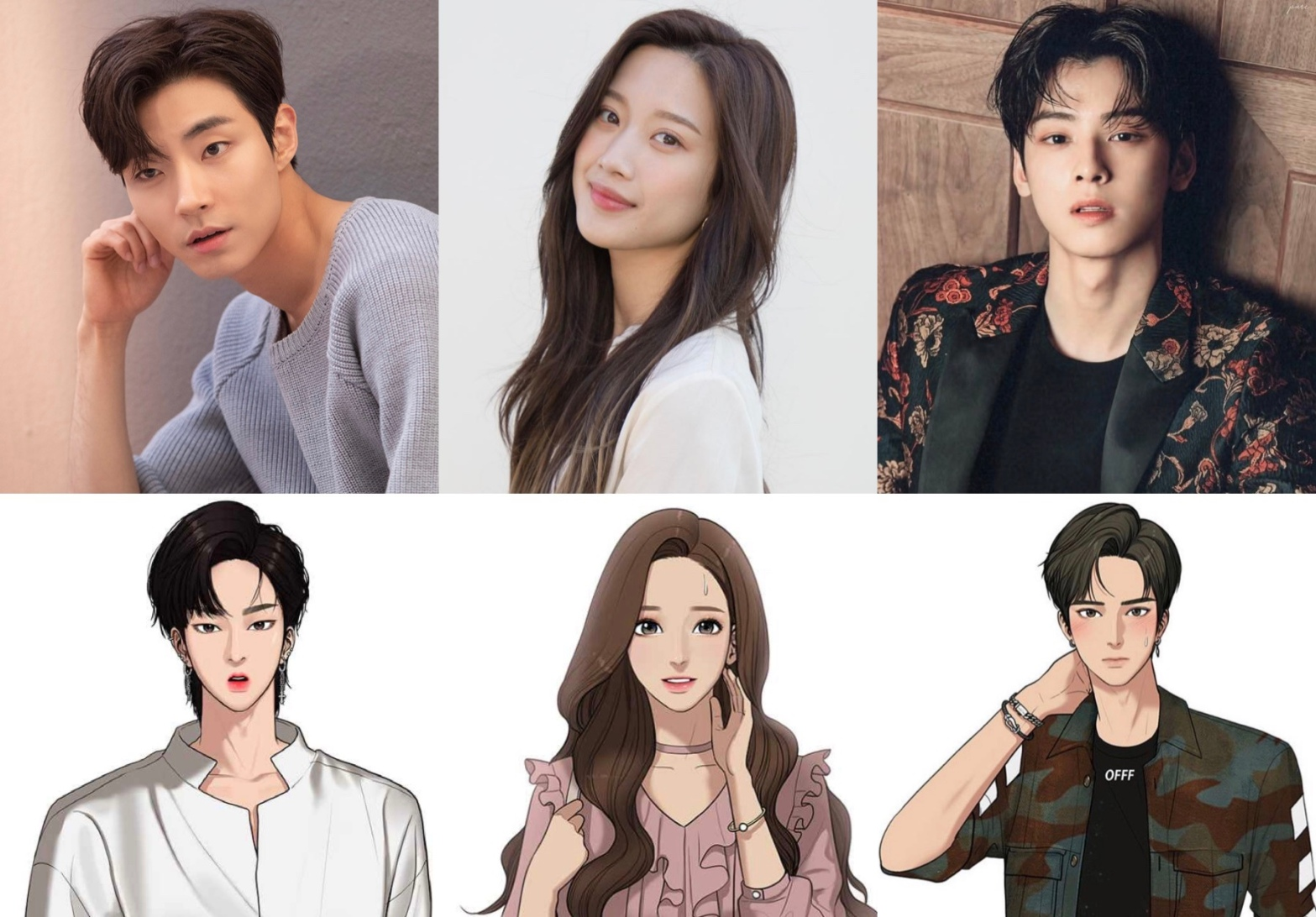 True Beauty webtoon and drama main leads. Hwang In Yeob, Moon Ga Young and Astro's Cha Eun Woo.